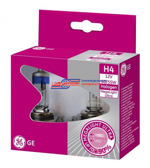 Автолампа General Electric H4+W5W Megalight Ultra+90 12V 60/55W (99627-HCB, к-т.)